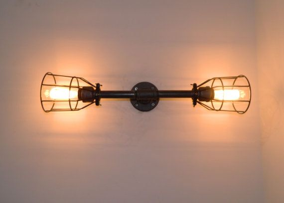 Vanity Light: Black Malleable Iron - Industrial Steampunk Shops, Black and Vanities
