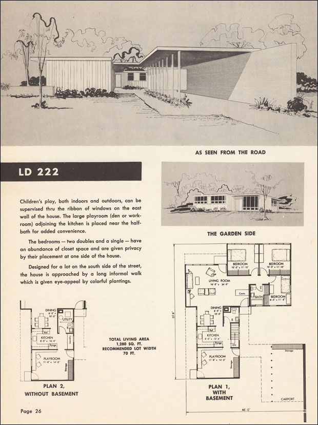 Mid century modern floor plan house cottage for Mid century modern floor plans