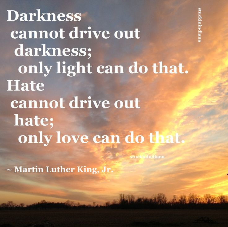 """Darkness cannot drive out darkness; only light can do that. Hate cannot drive out hate; only love can do that."" ~ Martin Luther King, Jr.  #quote"