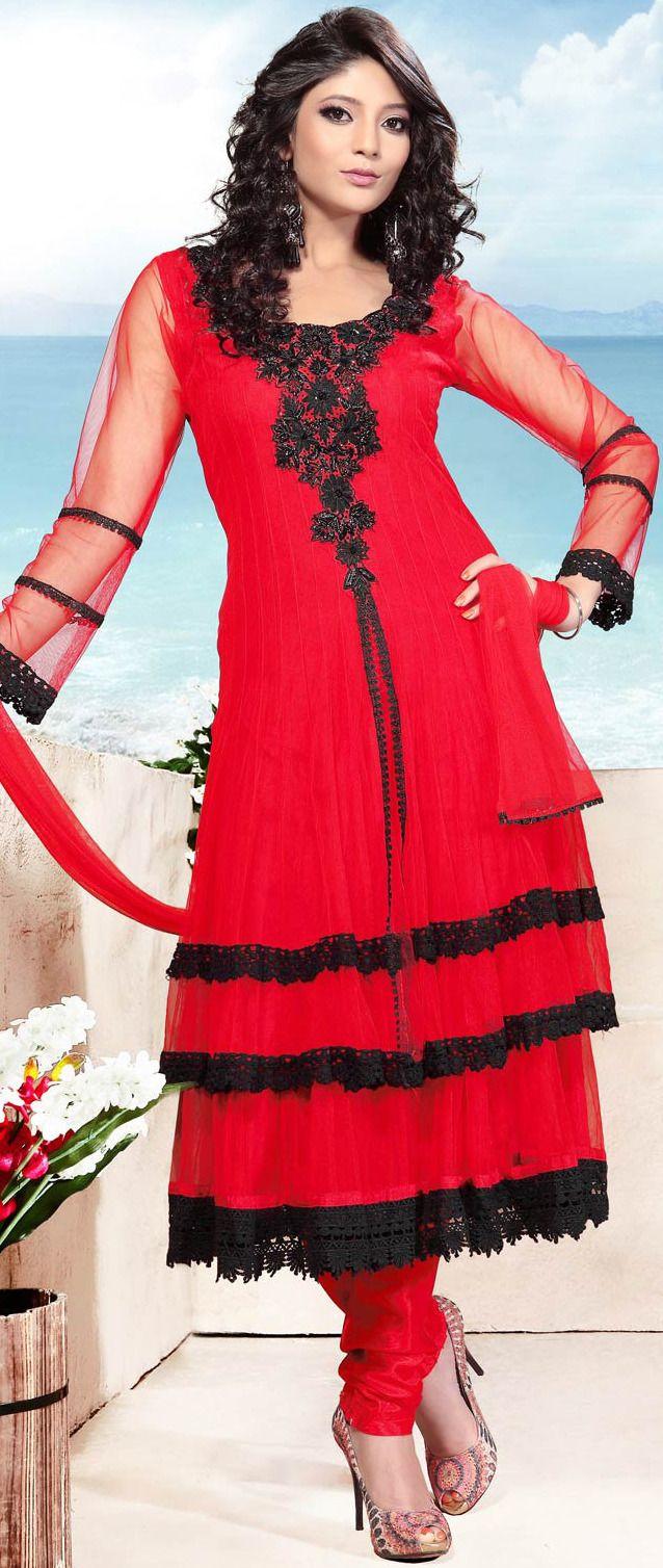 #Red #Churidar Kameez