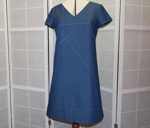 Robe trapèze ample encolure en V manches courtes en jeans