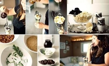 Love the concept of a make your own popcorn bar- so clever and unique!  Great for a wedding shower or adult birthday/cocktail party.