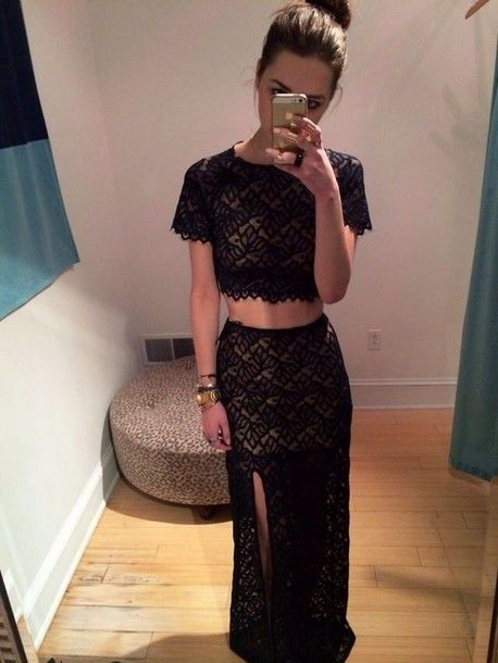 Dress: skirt, two-piece, nude, maxi, classy, dressy, black lace, matching outfit, shirt, black,  ...