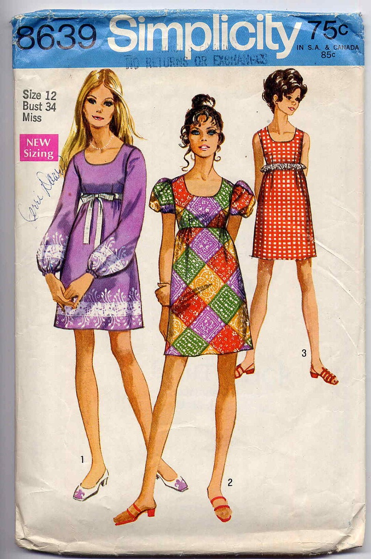 60s Mod Sewing Pattern Vintage Simplicity 8639