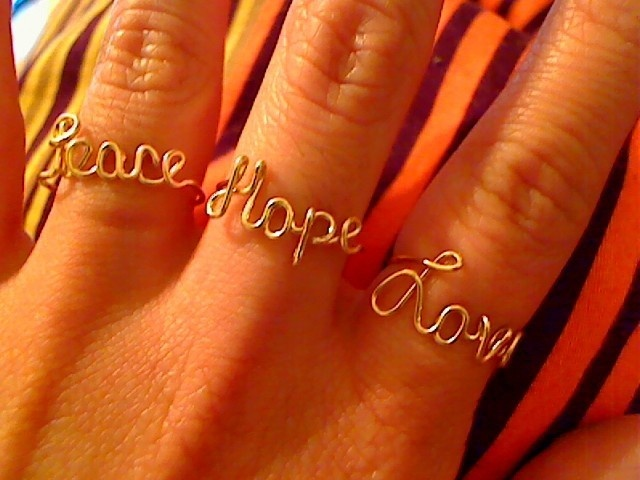 Adjustable 14 Karat Gold Filled Peace Love and by WireNameMike: Peace Hope Lov, Hope Rings, Wire Rings, Hope Love, Fillings Peace, Gold Fillings, 14 Karate, Karate Gold, Adjustable 14