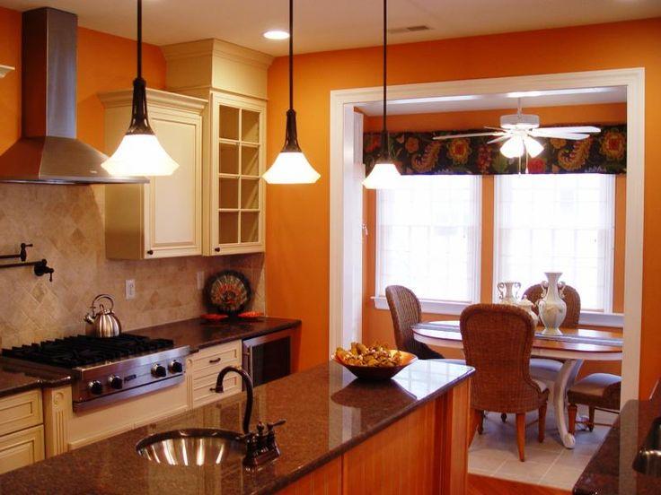 Orange kitchen, Above kitchen cabinets and Burnt orange kitchen