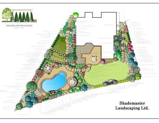 A landscape design can be drawn by hand done in 2D black and
