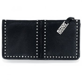 Brighton; Pretty Tough wallet.  I own it in the color INK (navy) and its gorgeous.  Best wallet ever.
