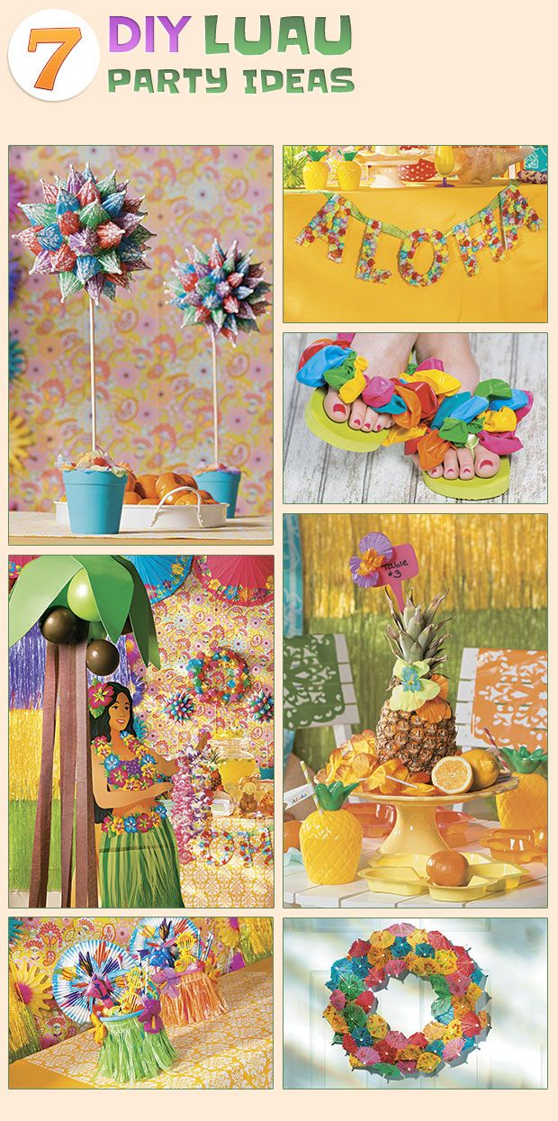 National luau month 7 diy luau party ideas at for Hawaiin decorations