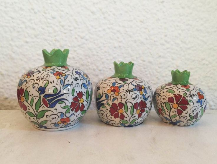 Turkish Ceramics pomegranate Set of Three