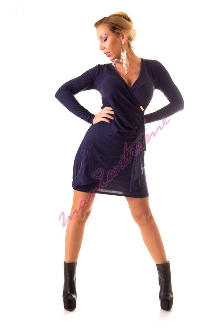 Átlapolt egy színű elegáns női ruha