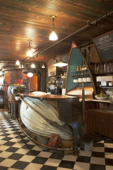 Visit www.newtonwoodcraft.com... Bar made out of old oyster-fishing boat - 13 DIY Repurposed Boats Ideas
