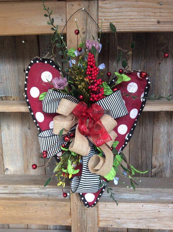 Valentine Burlap Door Hanger Valentine Wreath Heart by Keleas, $34.99