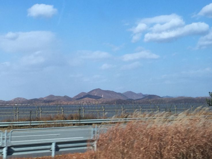 On my way to the Korean demilitarized zone. North Korea can be seen on the other side of the river.