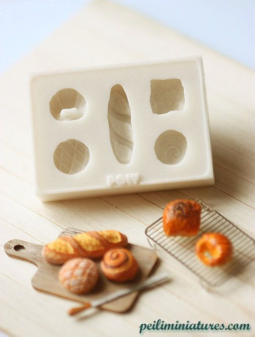 miniature clay push mold for dollhouse miniature french breads. {my dollhouse kitchen requires this}