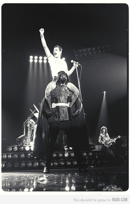 Funny pictures about Freddie Mercury riding on the back of Darth Vader. Oh,  and cool pics about Freddie Mercury riding on the back of Darth Vader.