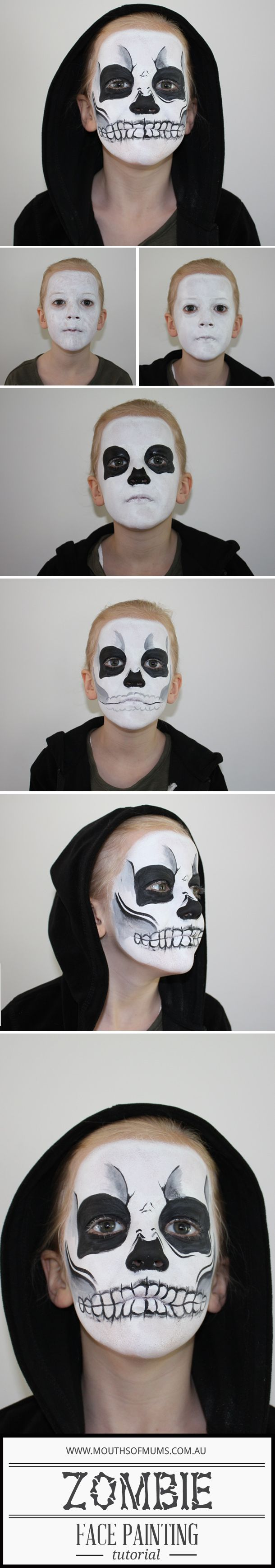 how to face paint a zombie for halloween