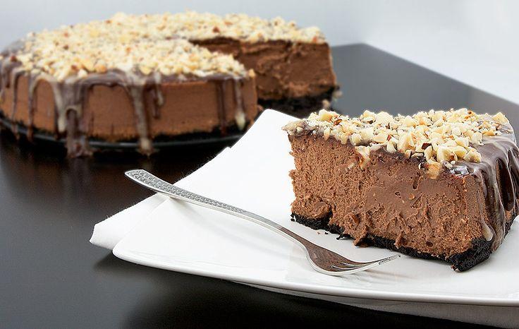 Chocolate Cheesecake w/Chocolate Sauce & Butter Caramel Sauce & Hazelnuts