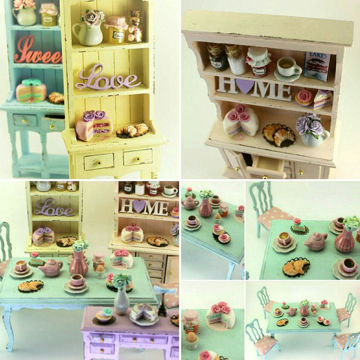 New shabby chic dollhouse furnitures available in my shop ❤ I really love pastel colours🌈 Nuovi mobiletti in stile shabby chic per le case delle bambole ❤ disponibili nel mio negozio ❤ Adoro questi colori pastello 🌈