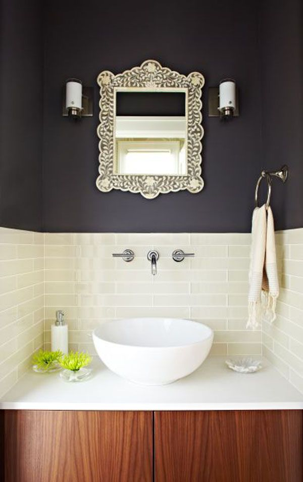 """Ensuite - Love this color palette: dark gray, white and walnut. White glass tiles 2 x 12 with white grout could be doable in the new shower. """"Lucy McLintic modern powder room. Lucy McLintic The Caesarstone is Blizzard. The tiles are 2x12 inches and the color is Swiss Coffee. I'm afraid I don't have the brand but they were purchased from Ceramic Tile design in San Francisco."""""""