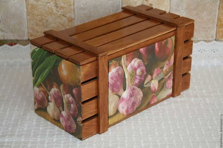 Купить Ящик для лука-чеснока - ящик, короб для хранения, интерьер кухни, лук, чеснок, подарок