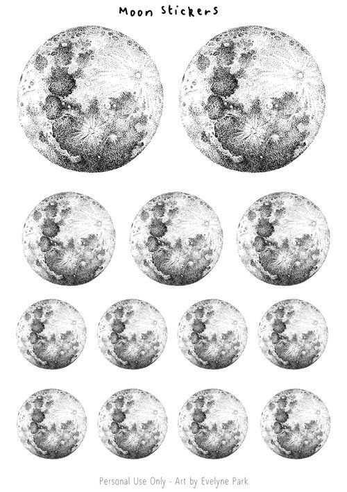 Library — evydraws An A5 sticker sheet of my hand-drawn ink full moons. They come in a variety of sizes so you can decorate your journals, notebooks, planners...  I love drawing anything related to outer space and hope you like the detailed yet minimalist stickers that came out of this! Sign up to my newsletter to get access to the library and more free printables!