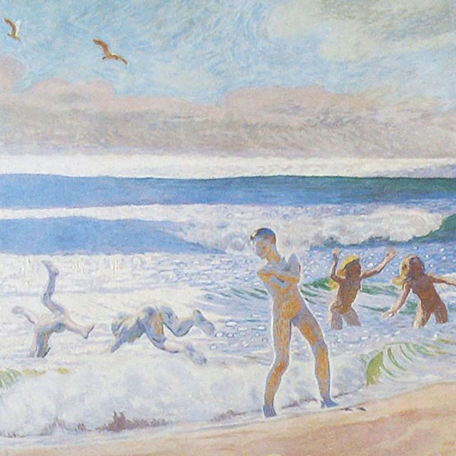 J.F. Willumsen was born on this day, 152 years ago. He first came to Skagen in 1906 and it was here that he carried out most of the preparatory work on his painting 'Children bathing on Skagen's beach' from 1909. The painting is a preparatory study – or 'dress rehearsal', as Willumsen put it – for the painting 'Sun and youth' from 1910 which belongs to Gothenburg Museum of Art. In April next year, we will open a speciel exhibition on his paintings of bathing children #willumsen #jfwillumsen