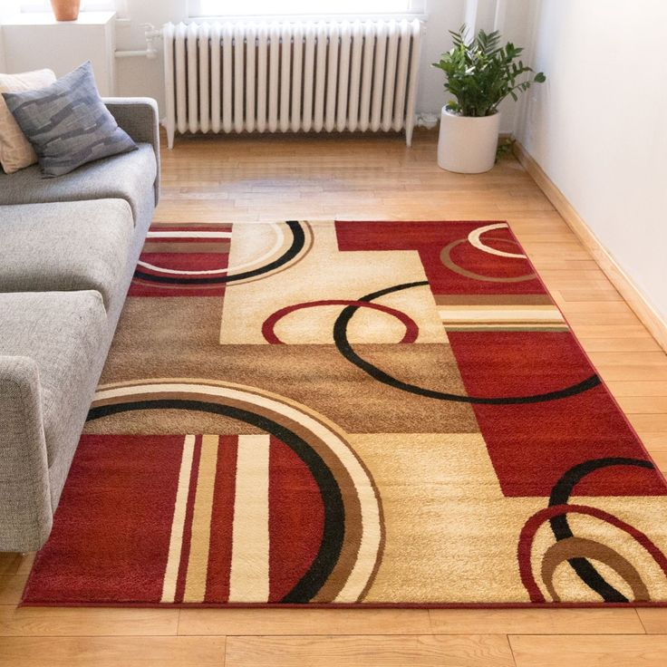 Well Woven Arcs And Shapes Red, Ivory, And Beige Modern Circles Boxes  Geometric Abstract Area Rug (7u002710 X 9u002710) (Arcs And Shapes Red Rug 7u002710)