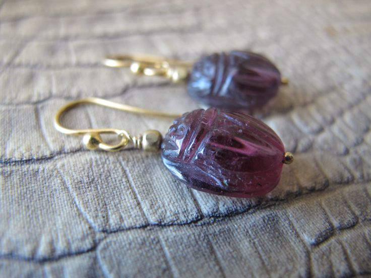 Handmade Carved TOURMALINE Gemstone SCARAB Drop Pendant Pierced Earrings.Artisan One of a Kind OOAK. Girl w/ Scarab Earring.Egyptian Revival by MaisonettedeMadness on Etsy https://www.etsy.com/listing/201263516/handmade-carved-tourmaline-gemstone