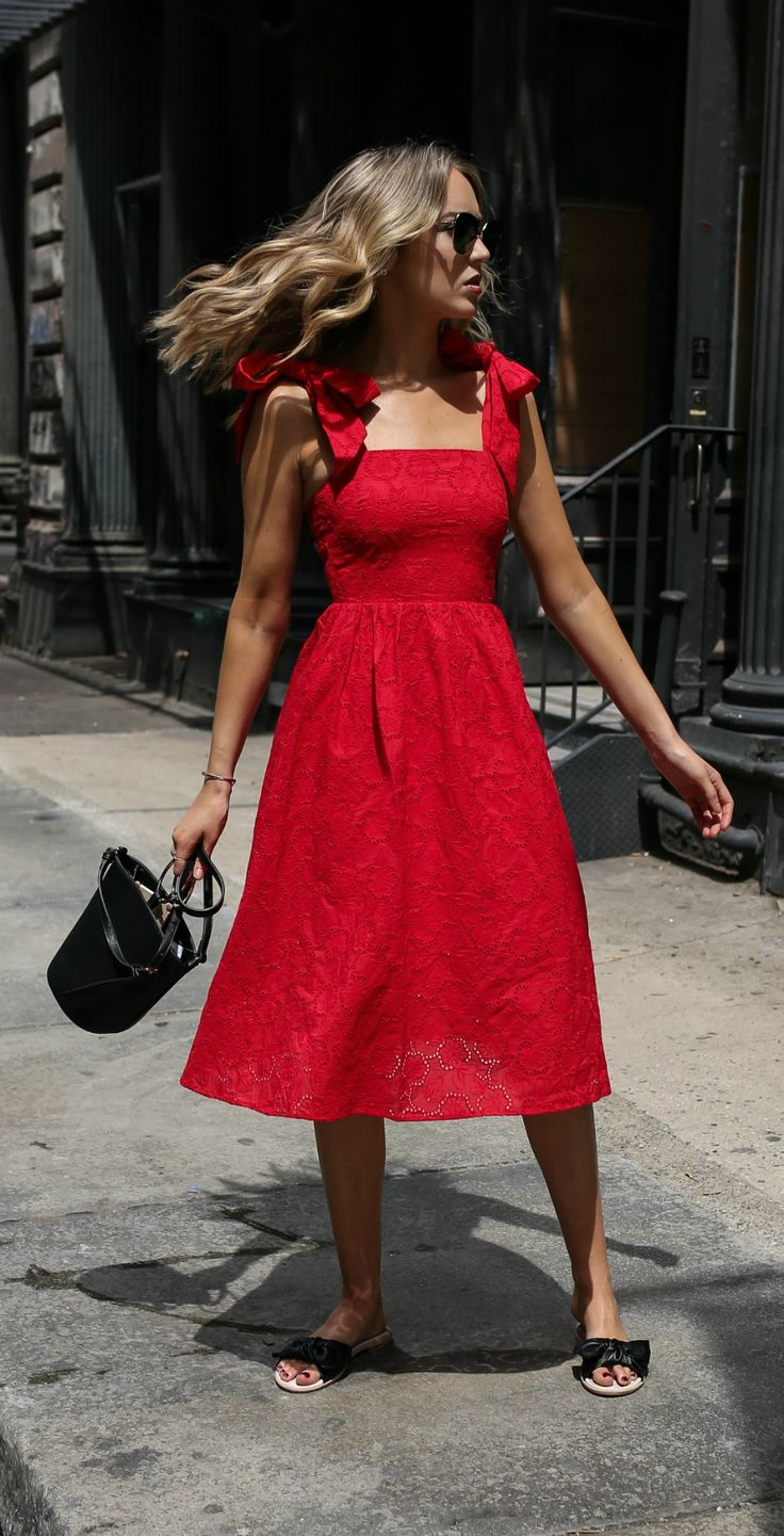 Red eyelet midi dress with bow details, black leather bow slide sandals, black oversized sunglasses + silver knot earrings {Tory Burch, H&M, classic style, weekend style, under $100, affordable fashion}
