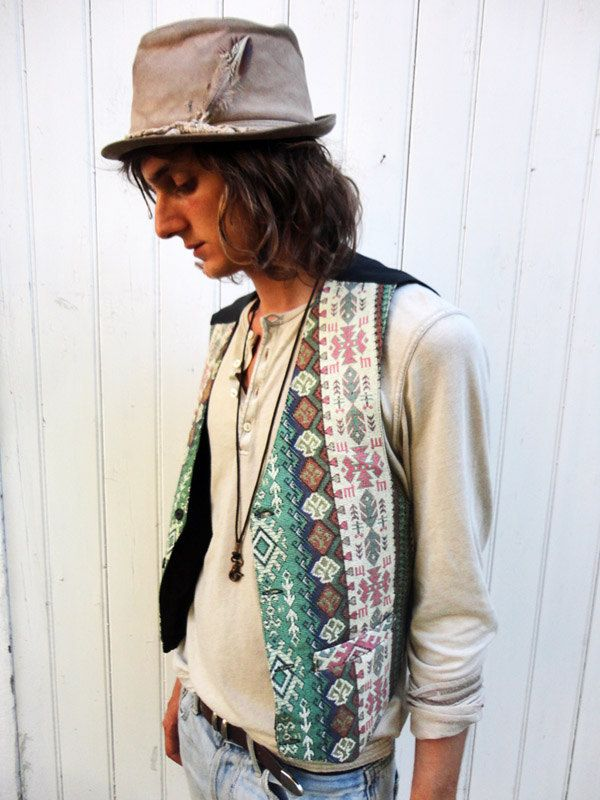 Vintage Girls And Boys Patterned Hippie 70s Waistcoat Jacket.