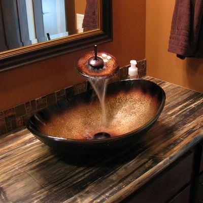Novatto Sanguinello Oval Glass Vessel Sink
