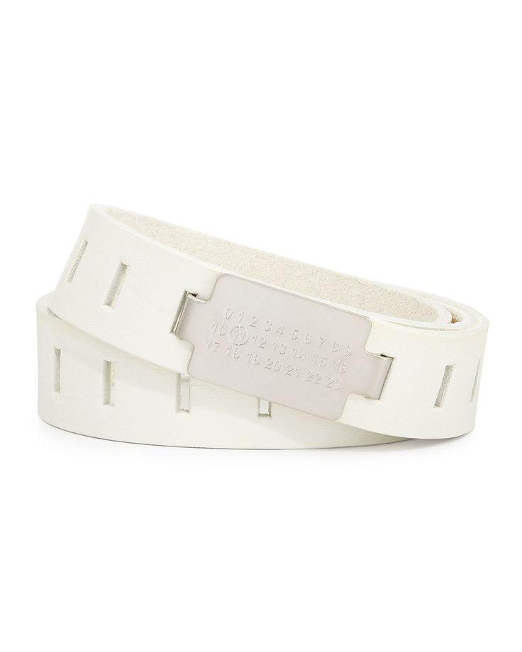Code-Buckle Leather Belt, White, Men's, Size: 38IN/95CM - Maison Margiela