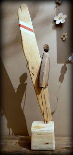 http://mutozinc.blogspot.fr/ surfart, surf art, art du surf, driftwood, bois flotté, art naive, art brut, upcycling