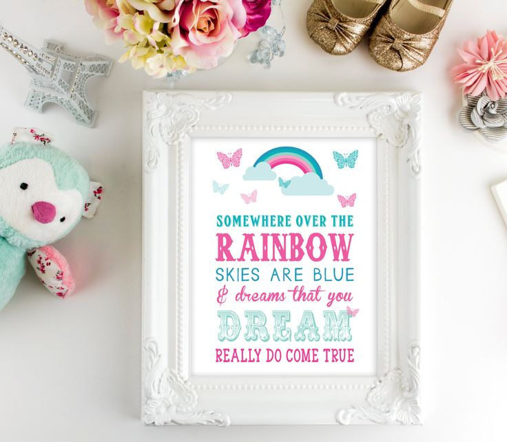 Nursery Wall Art   Printable Art   Somewhere Over the Rainbow   Baby Printable Quote   Rainbow Printable   Kids Wall Decor   Baby Wall Art, by SmudgeCreativeDesign on Etsy