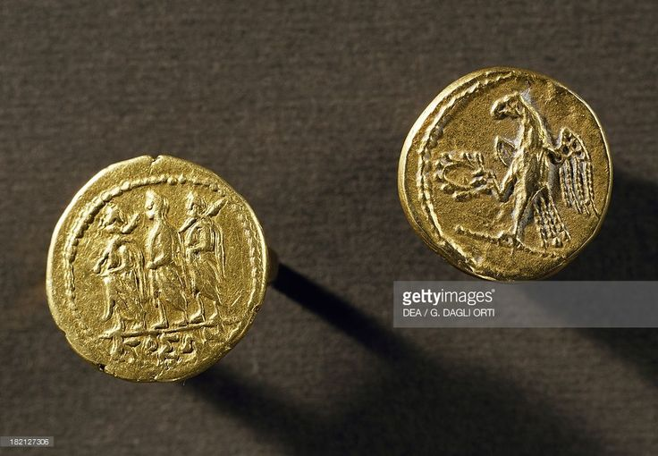 Gold coins depicting an eagle and Koson from Sarmizegetusa Regia, Romania, 2nd-1st century BC