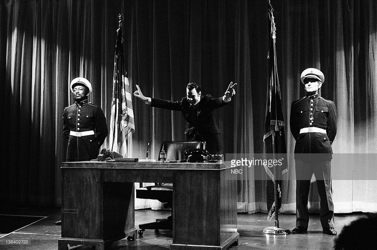 Garrett Morris as Gerald Wagner, Dan Aykroyd as President Richard Nixon, Brian Doyle-Murray as Ron Quinn during 'Nixon's Book' skit on May 20, 1978