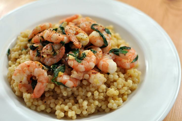 Chili, Lemon, and Basil Shrimp with Israeli Couscous — Quick Dinner for Two