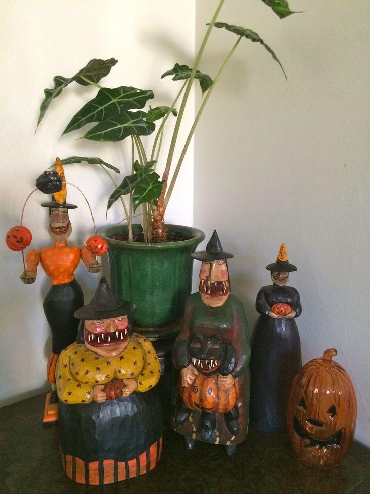 Sande Elkins hand carved Folk Art witches