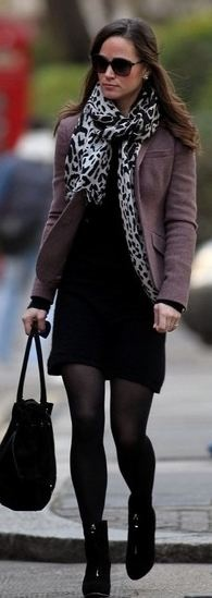 work style: Leopards Prints Scarfs, Black Dresses, Black Boots, Fall Jackets, Fall Outfits, Pippa Middleton, Classic Style, Work Outfits, Work Style