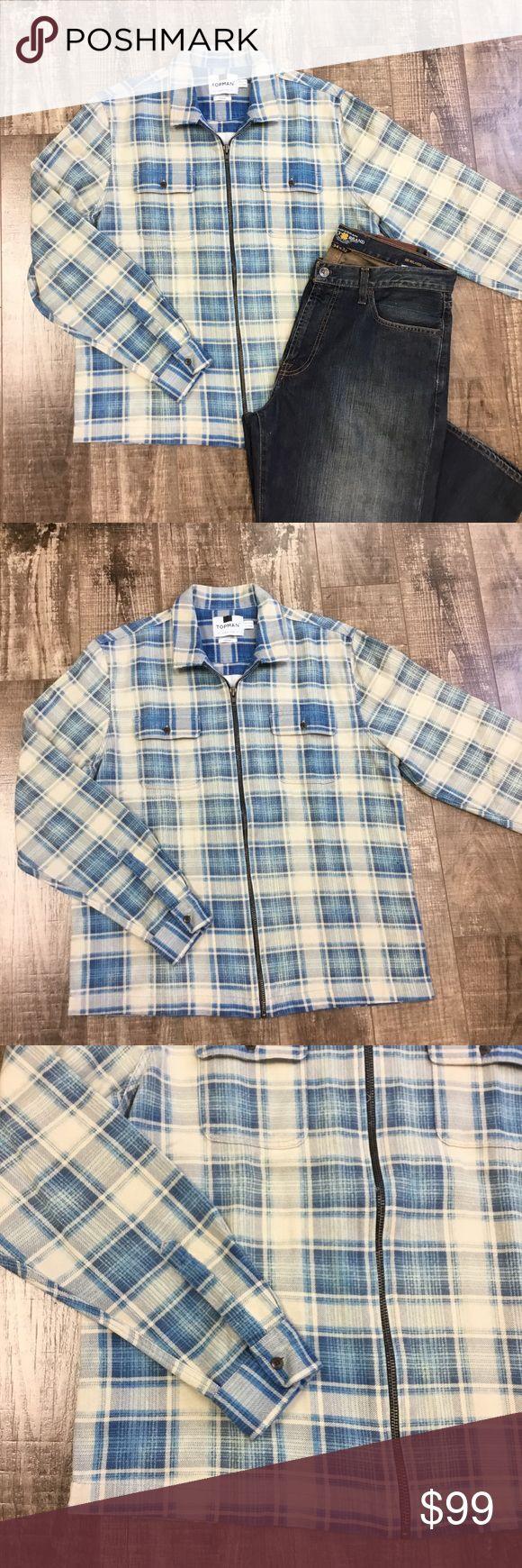 Men's Zip-Up Overshirt 100% cotton. Warm. Distressed look. Topman Jackets & Coats Lightweight & Shirt Jackets