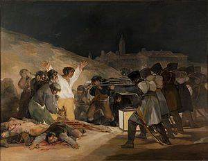 The Third of May 1808 --Francisco José de Goya y Lucientes was a Spanish romantic painter and printmaker regarded both as the last of the Old Masters and the first of the moderns. Wikipedia Born: March 30, 1746, Fuendetodos Died: April 16, 1828, Bordeaux Period: Romanticism Series: Black Paintings