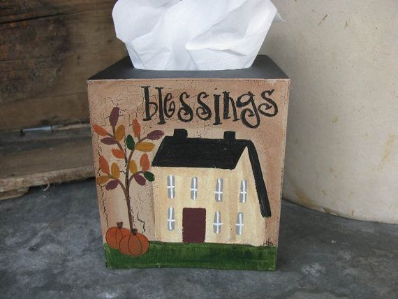 Primitive Autumn Fall scene saltbox house tissue box cover. This is my design from the personalized fall saltbox plate, but now on the tissue
