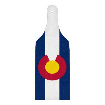 Glass cutting board paddle with flag of Colorado - kitchen gifts diy ideas decor special unique individual customized