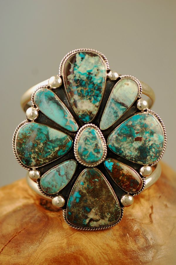 Bisbee Turquoise Cluster Bracelet-Native American