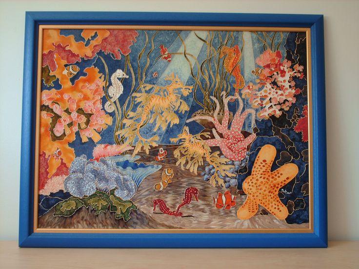 Splendeurs marines / peinture vitrail et céramique sur verre