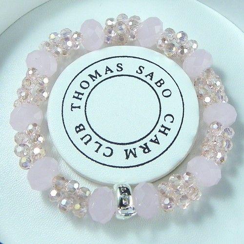 Thomas Sabo Bracelets Cheap Reconstructed Nugget Crystal Stretch Bracelet Pink