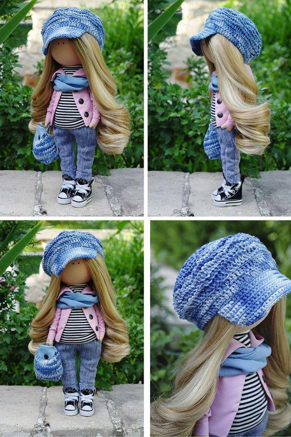 Decor doll handmade blue jeans blonde by AnnKirillartPlace on Etsy