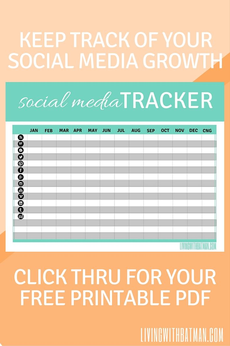 Keep track of your social media growth with the Social Media Tracker. Click thru for your free Printable PDF.