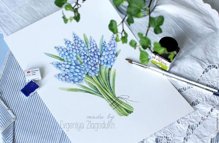 """Купить Акварель """"Букет мускари"""" - комбинированный, акварель, акварельный рисунок, акварельные цветы, подарок девушке"""